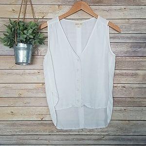 Anthropologie Cloth & Stone White Button Tank Top